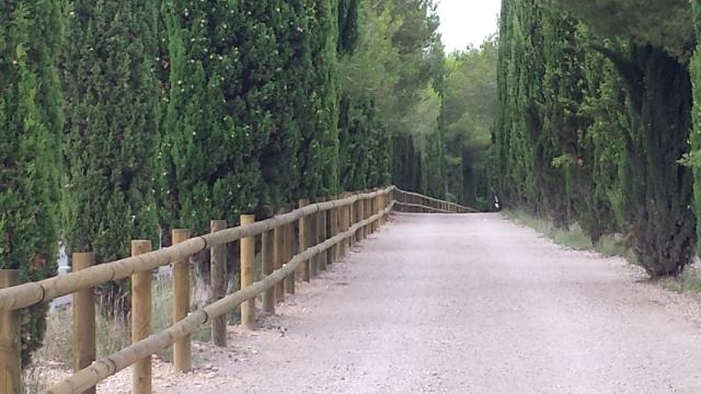 Valla tejana con postes de madera